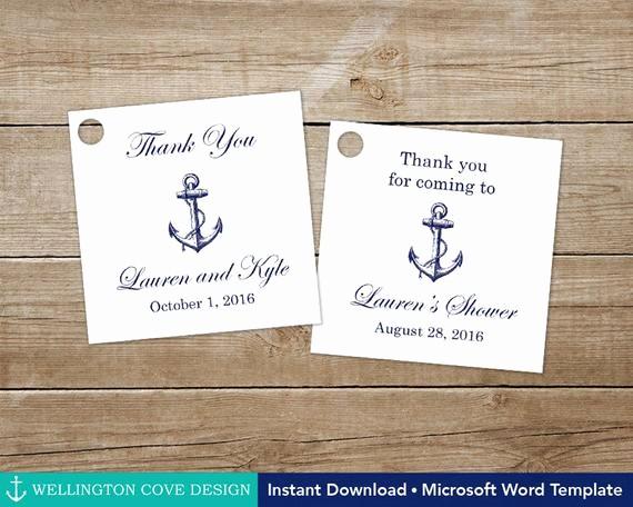 Wedding Tags Template Microsoft Word Elegant Printable Nautical Favor Tags • Editable Template for