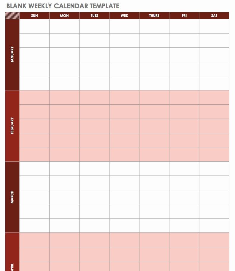 Week by Week Calendar Template Awesome Free Excel Calendar Templates