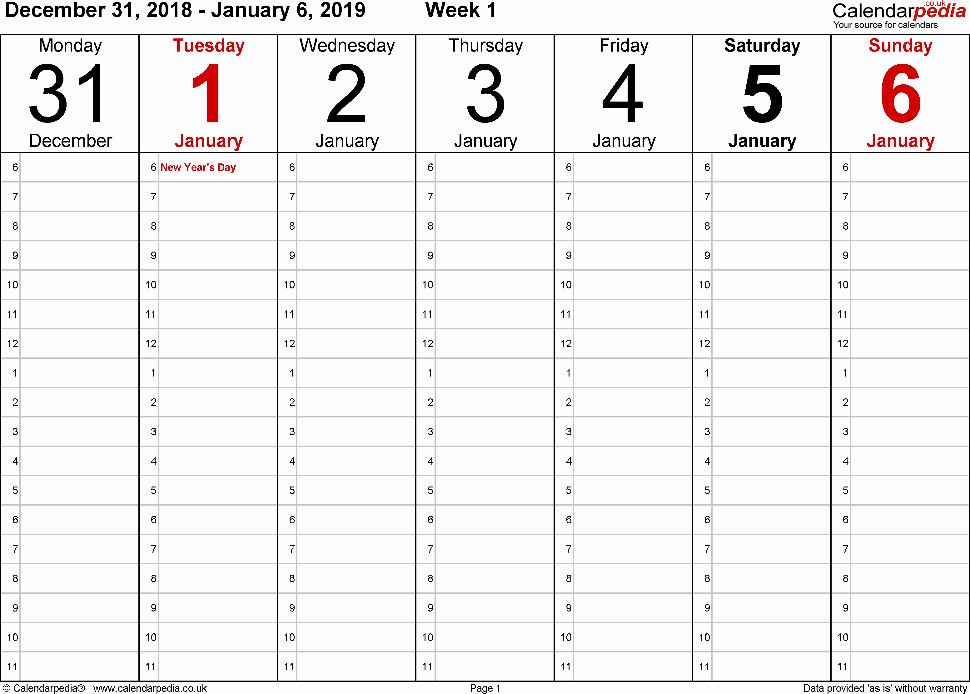 Week by Week Calendar Template Awesome Weekly Calendar 2019 Uk Free Printable Templates for Pdf