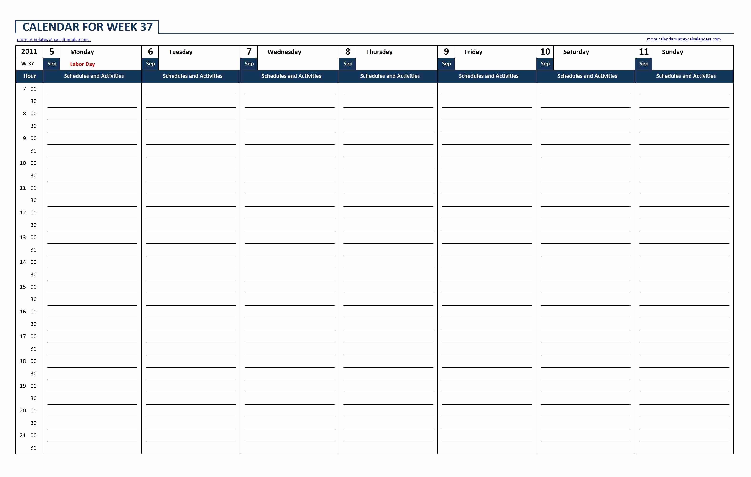 Week by Week Calendar Template Beautiful Weekly Calendar Excel