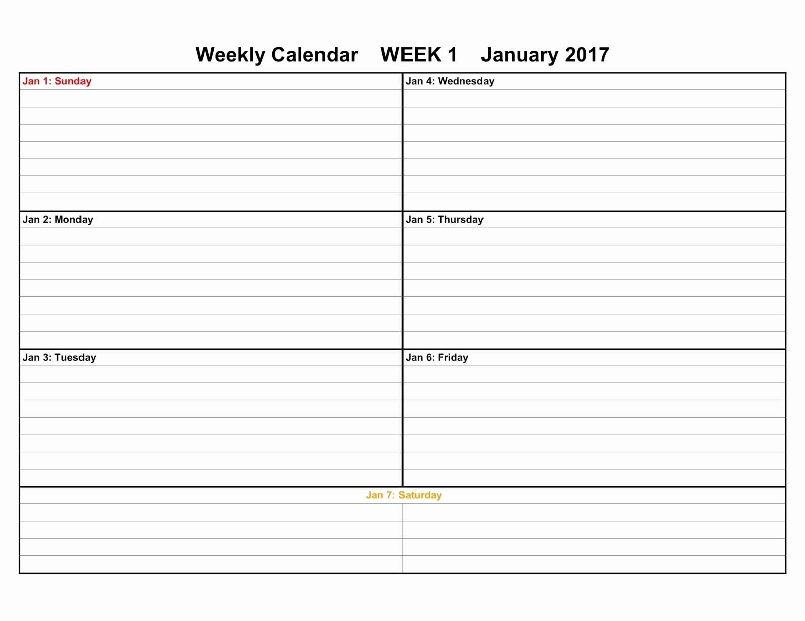 Week by Week Calendar Template Elegant Printable Calendars 2017 & 2018 Editable Printable Calendars