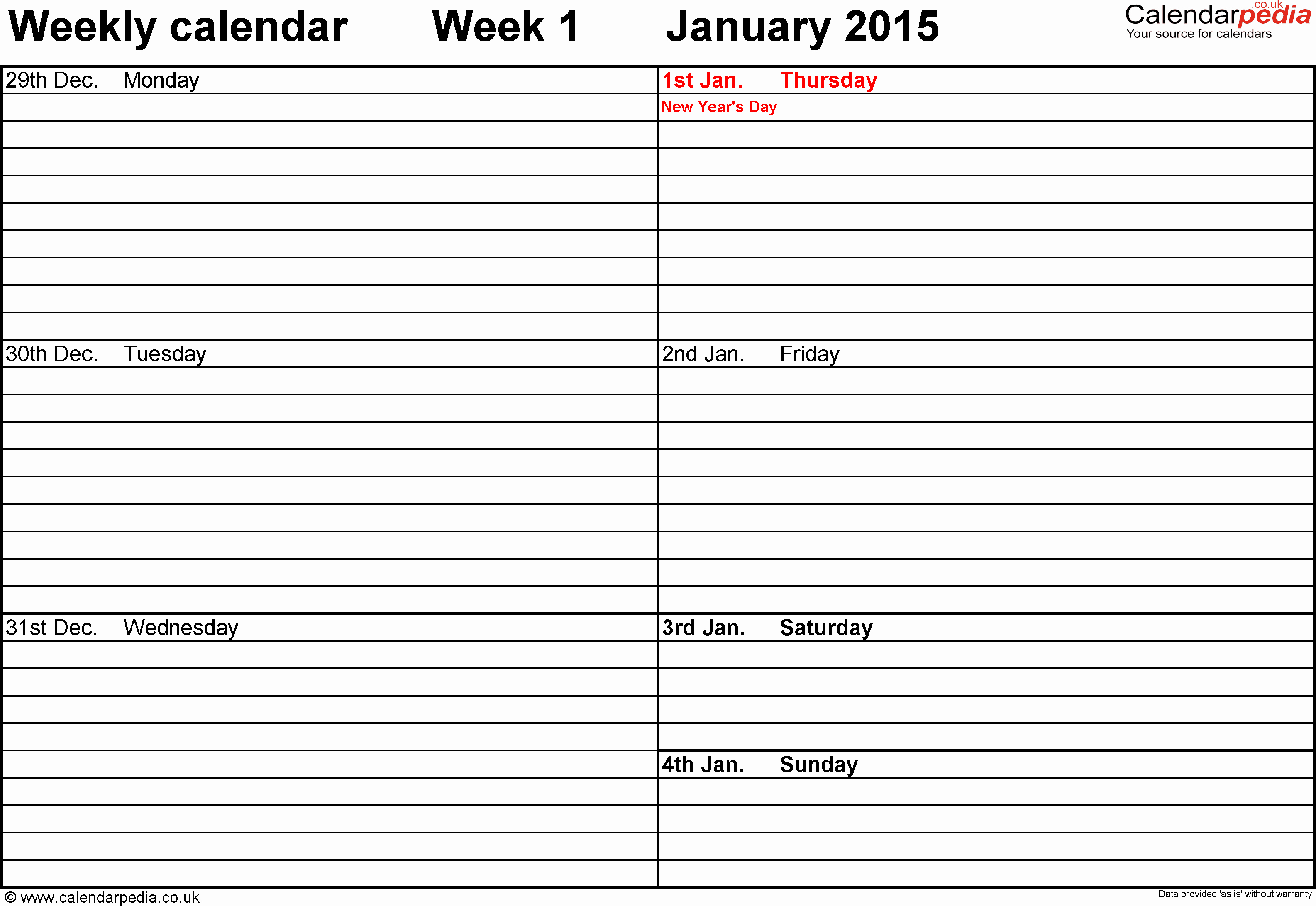 Week by Week Calendar Template Elegant Weekly Calendar 2015 Uk Free Printable Templates for Word