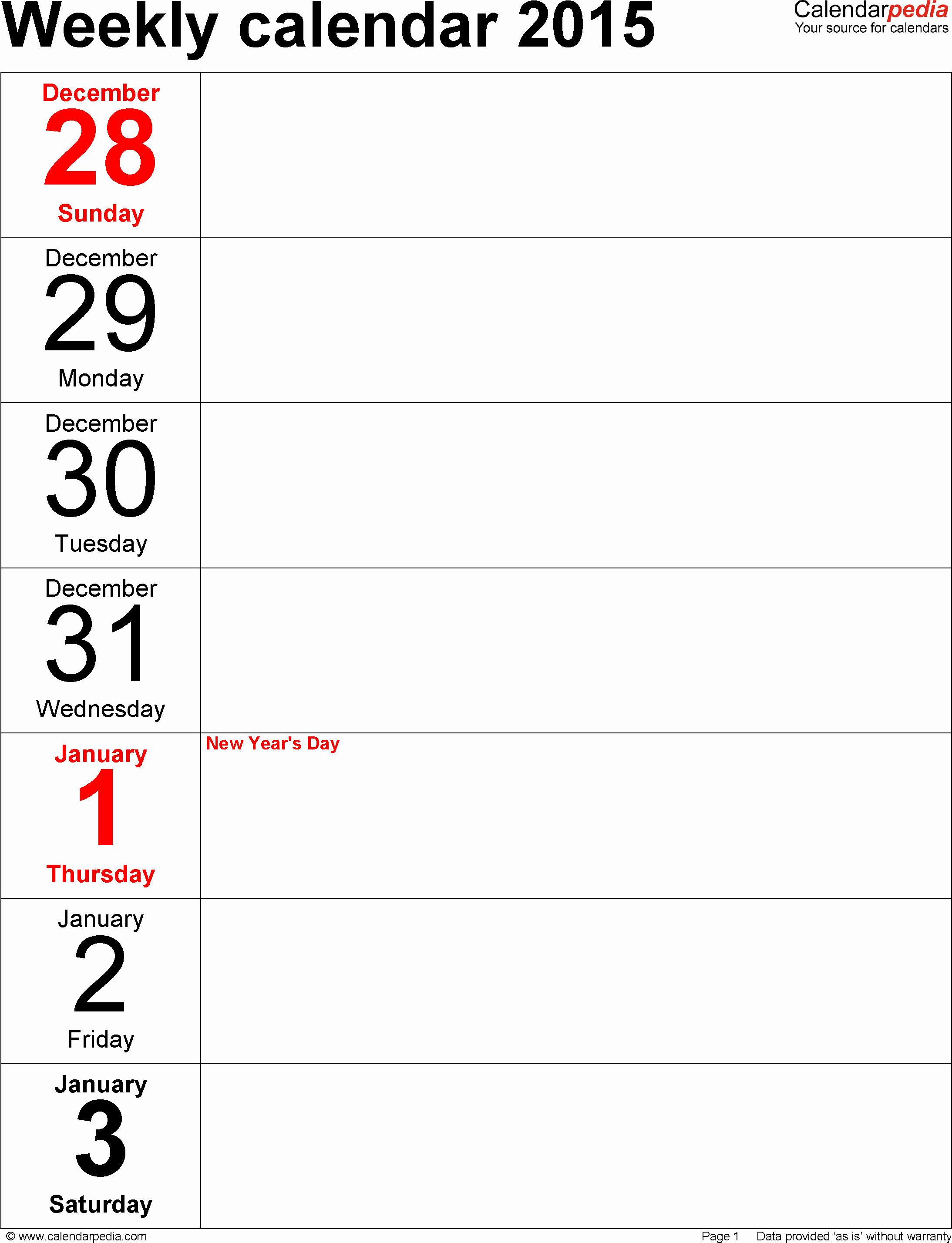 Week by Week Calendar Template Inspirational Weekly Calendar 2015 for Pdf 12 Free Printable Templates
