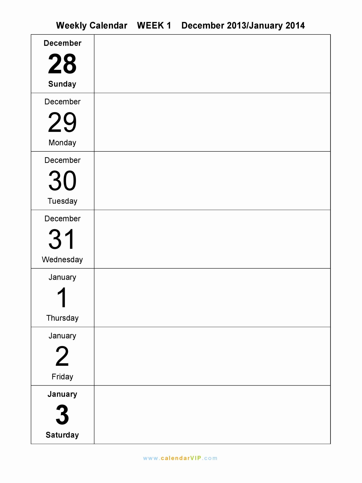Week by Week Calendar Template Inspirational Weekly Calendar 2015 Free Weekly Calendar Templates