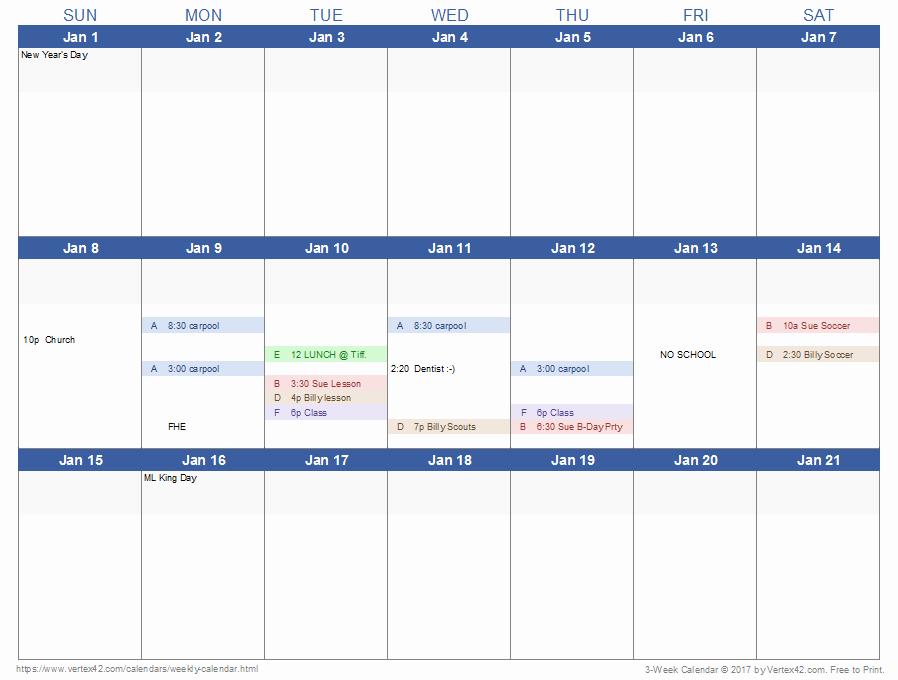 Week by Week Calendar Template Inspirational Weekly Calendar Template for Excel