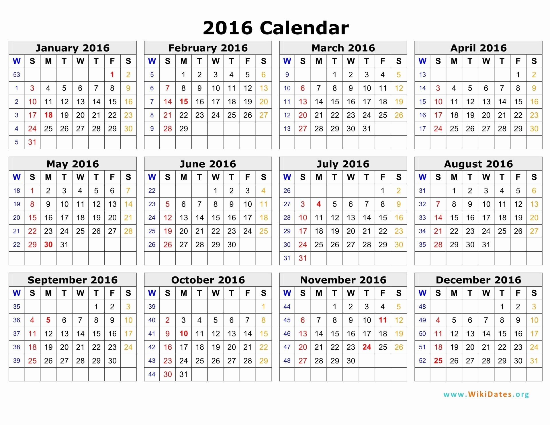 Week by Week Calendar Template Luxury 2016 Calendar by Week