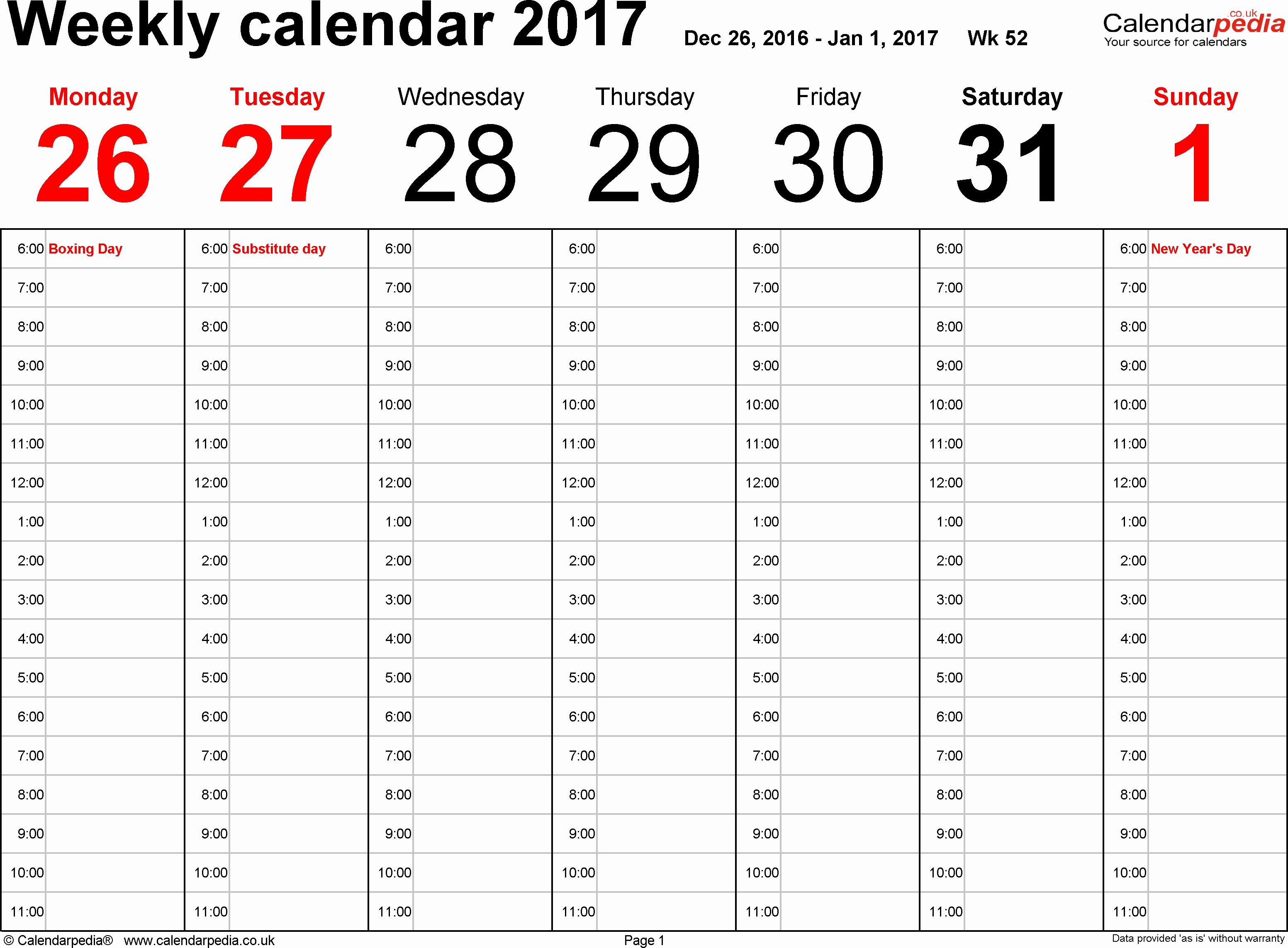 Week by Week Calendar Template Luxury Weekly Calendar 2017 Uk Free Printable Templates for Excel