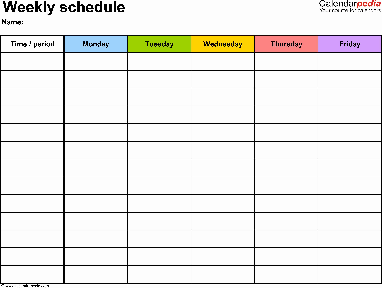Week by Week Calendar Template Luxury Weekly Calendar Template
