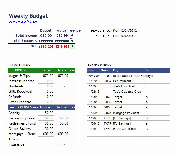 Weekly and Monthly Budget Template Beautiful 7 Bi Weekly Bud Template