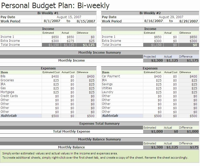 Weekly and Monthly Budget Template Best Of Free Biweekly Bud Excel Template