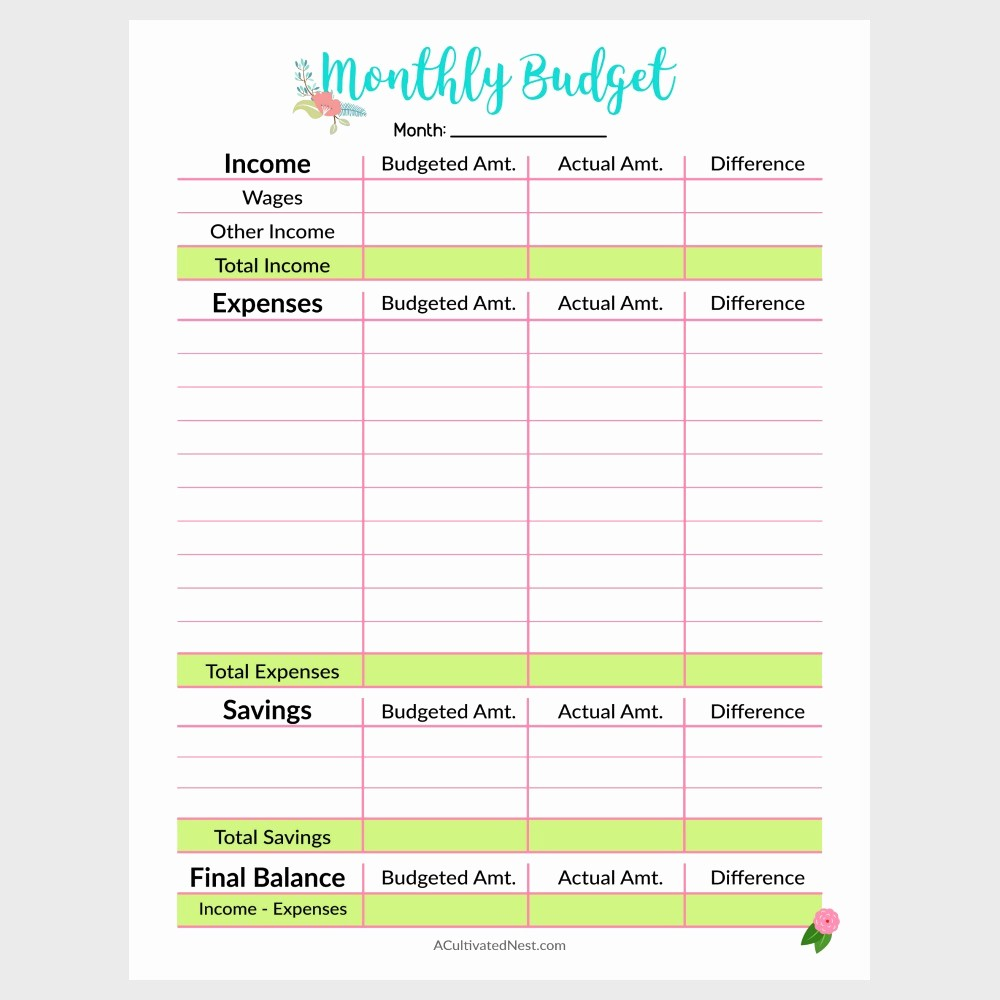 Weekly and Monthly Budget Template Inspirational Printable Monthly Bud Template A Cultivated Nest