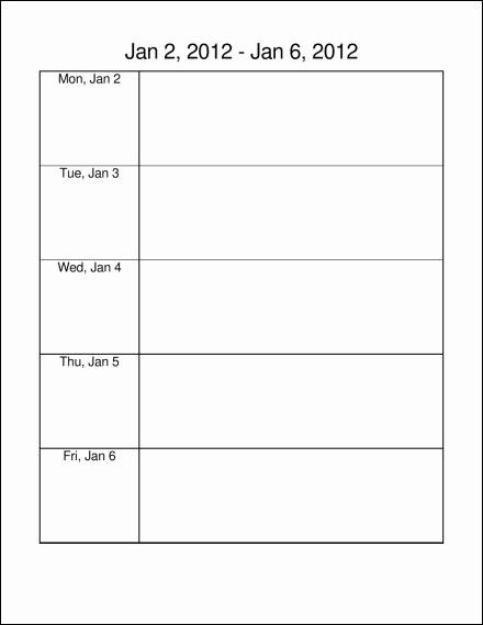 Weekly Calendar Monday Through Friday Inspirational 10 Best Of Monday Through Friday Calendar Template