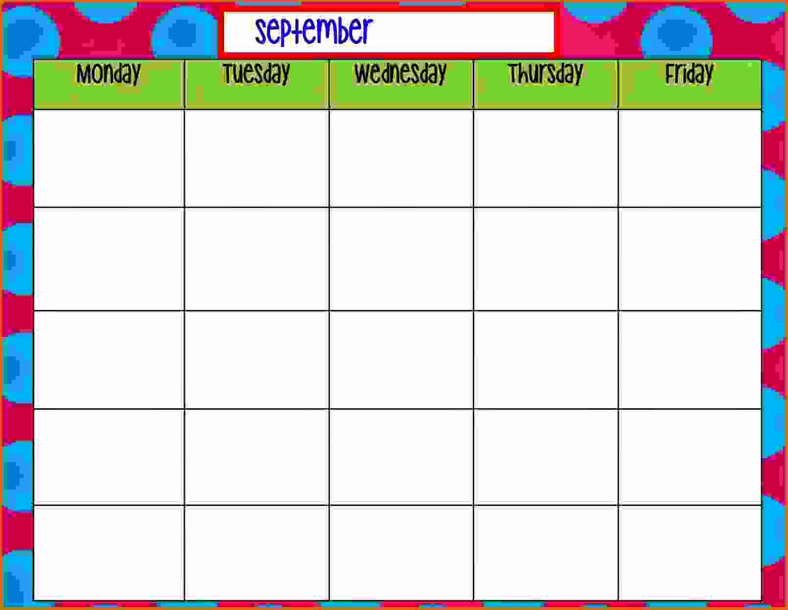 Weekly Calendar Monday Through Friday Luxury 11 Monday Through Friday Printable Calendar