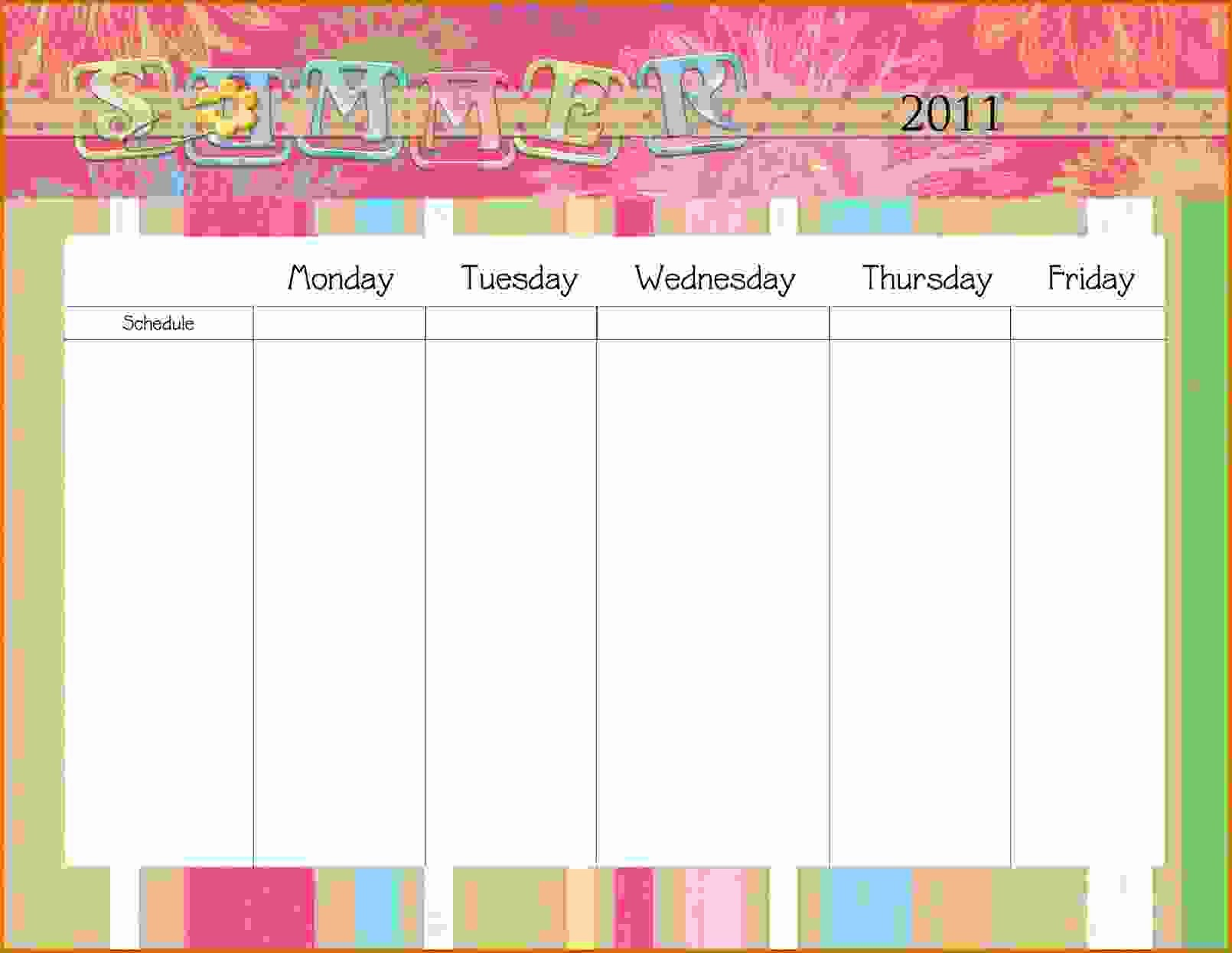 Weekly Calendar Monday Through Friday New 11 Monday Through Friday Printable Calendar