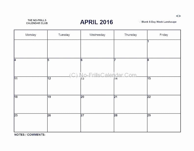 Weekly Calendar Monday Through Friday New Mon Friday Calendar Template Blank Thru Monday Through