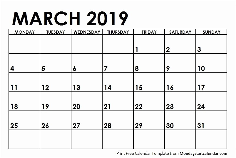 Weekly Calendar Starting with Monday Beautiful Blank Calendar March 2019 Monday Start