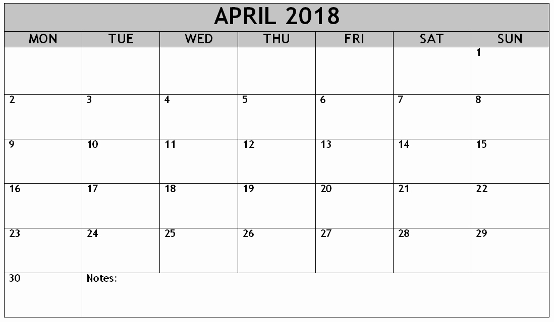 Weekly Calendar Starting with Monday Best Of April 2018 Printable Calendar Starting with Monday