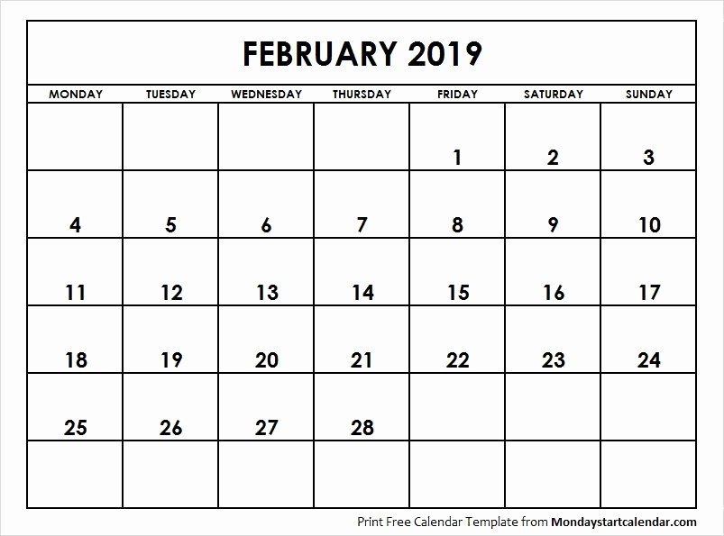 Weekly Calendar Starting with Monday Best Of February 2019 Calendar Starting Monday