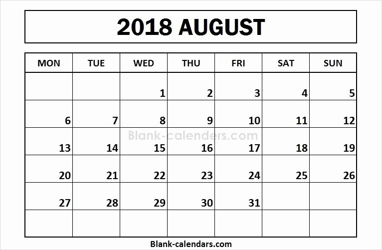 Weekly Calendar Starting with Monday Best Of Printable August 2018 Calendar Monday Start