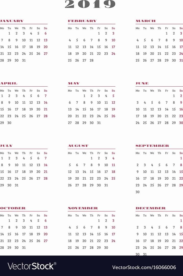 Weekly Calendar Starting with Monday Elegant 2019 Calendar Printable Week Starting Monday
