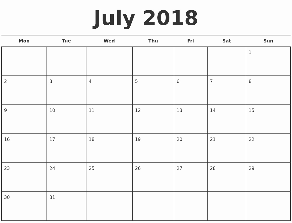 Weekly Calendar Starting with Monday Elegant July 2018 Monthly Calendar Template