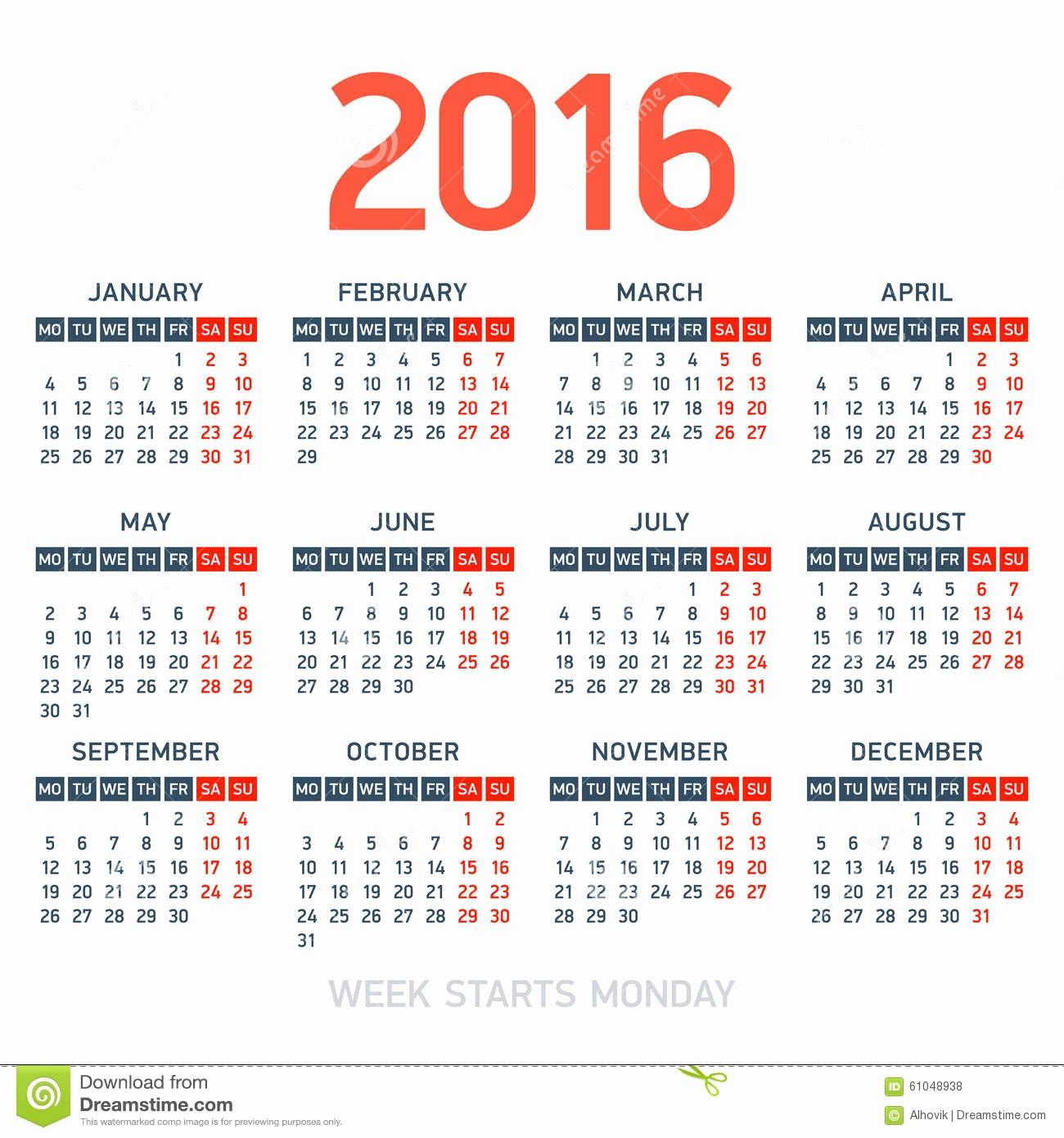 Weekly Calendar Starting with Monday Inspirational Calendar 2016 Stock Vector Image