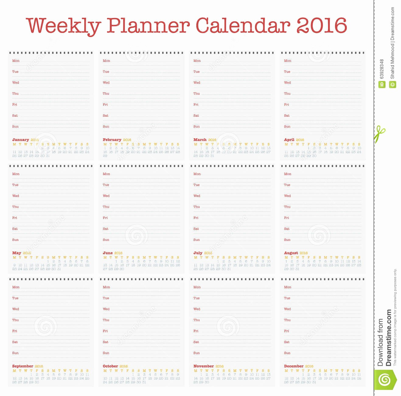 Weekly Calendar Starting with Monday Inspirational Calendar for 2016 Weekly Planner for Year 2016 Stock