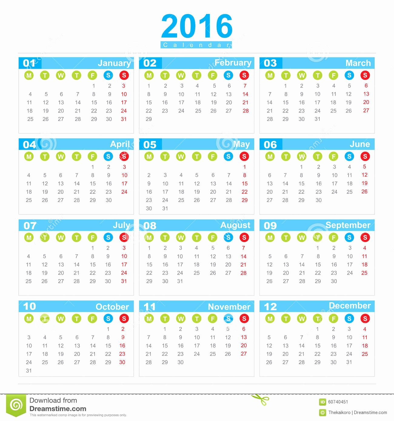 Weekly Calendar Starting with Monday Lovely 2016 Calendar Week Start Monday Stock Illustration Image