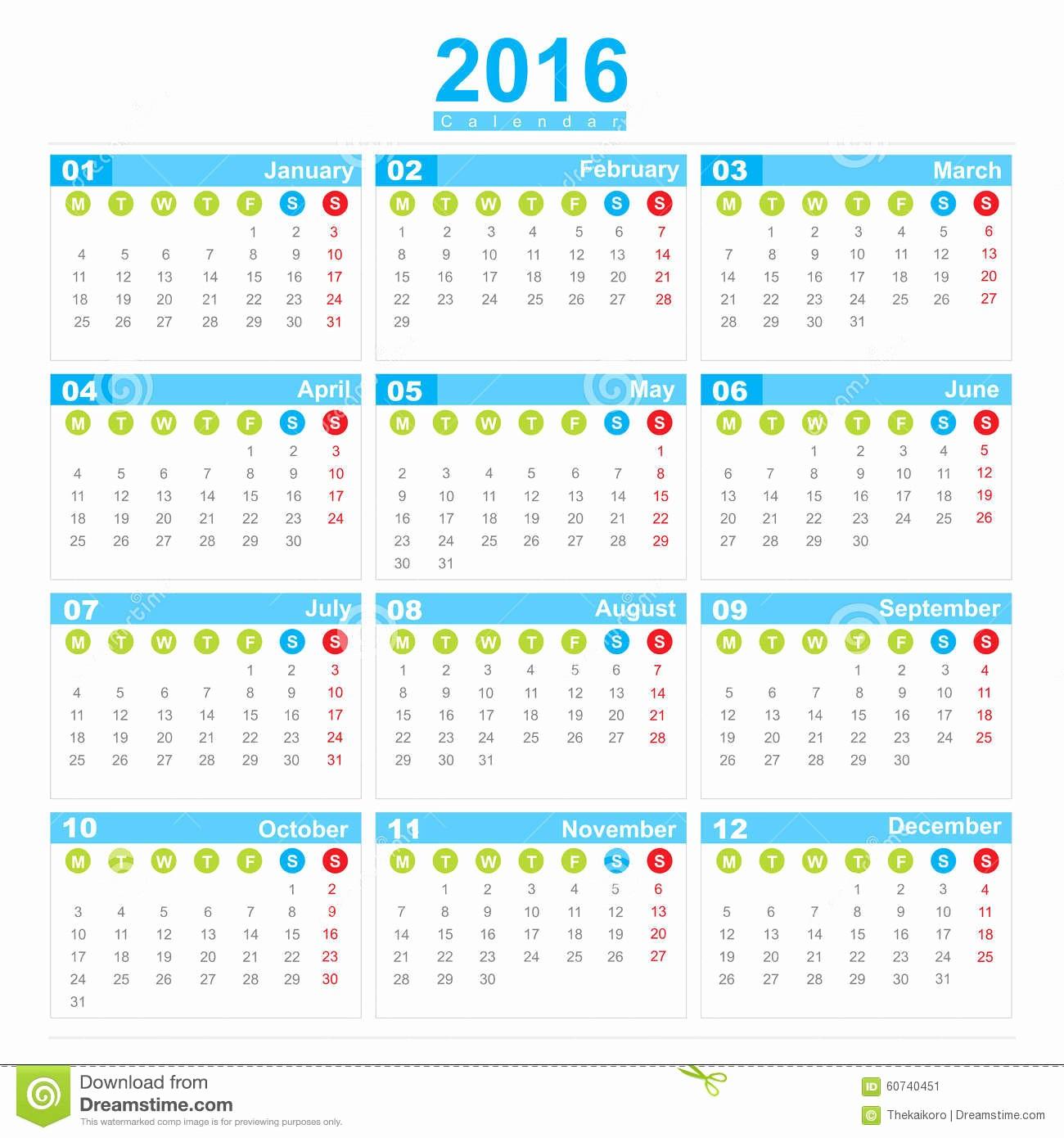 Weekly Calendar Starting with Monday Lovely 2016 Calendar Week Start Monday Stock Illustration Image