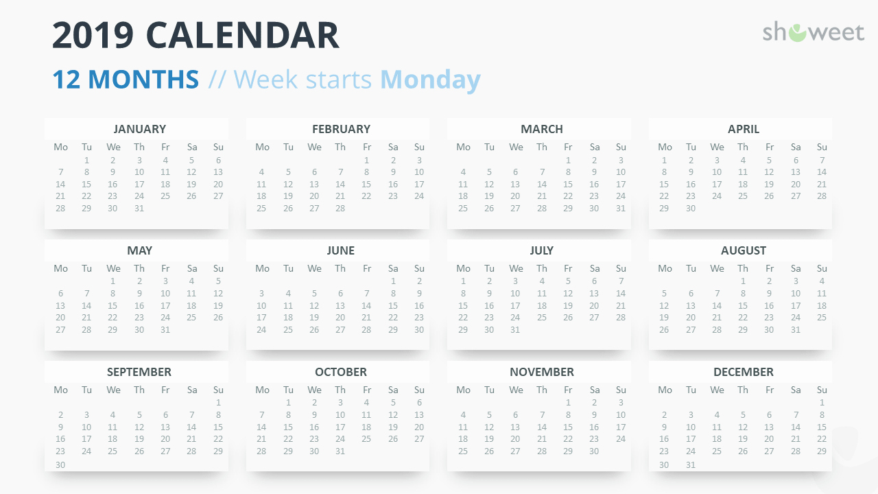 Weekly Calendar Starting with Monday Lovely 2019 Calendar Powerpoint Templates