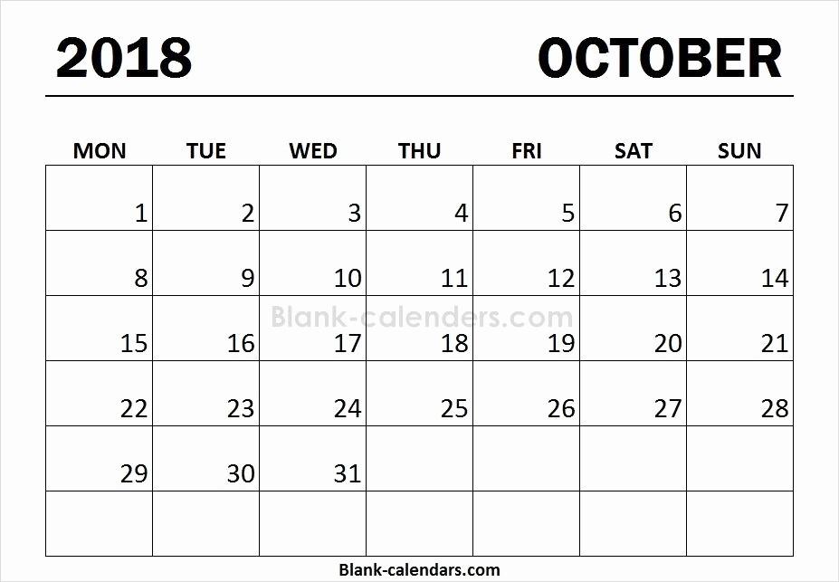 Weekly Calendar Starting with Monday Lovely Print Free October 2018 Calendar Monday Start Blank