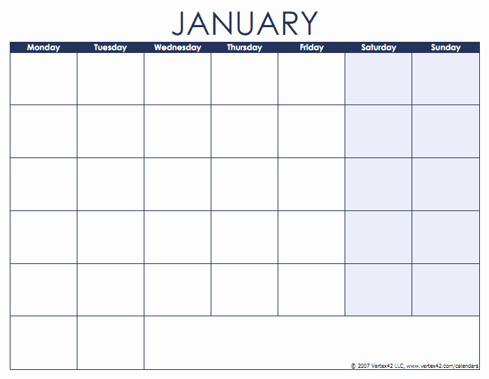 Weekly Calendar Starting with Monday Luxury Blank Calendar Template Free Printable Blank Calendars
