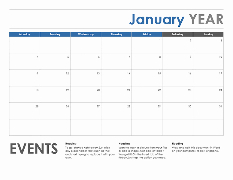 Weekly Calendar Starting with Monday New Monthly Calendar Starting with Monday – Month Printable