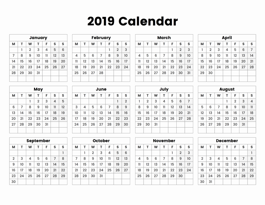 Weekly Calendar Starting with Monday Unique Calendar 2019 Year Colorful Vector Template Week Starts On