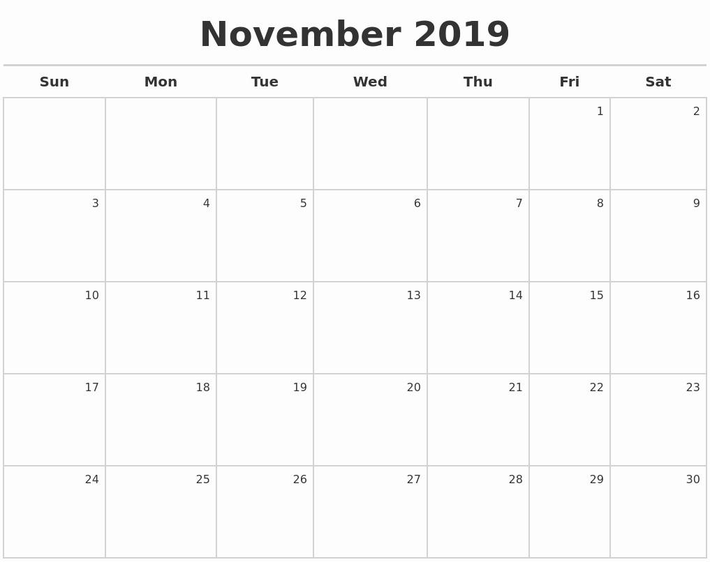 Weekly Calendar Starting with Monday Unique November 2019 Calendar Printable Start Monday