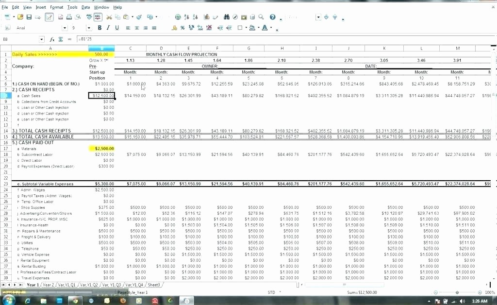 Weekly Cash Flow Projection Template Unique Daily Cash Flow Template Excel Best forecast Word