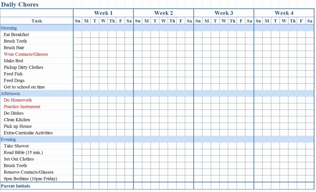 Weekly Chore Chart Template Excel Awesome Chore Chart Templates Beepmunk