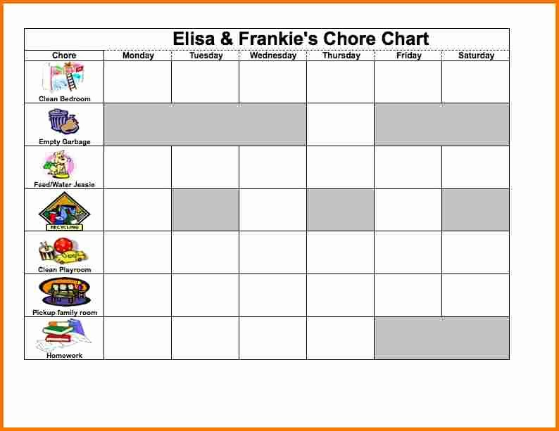 Weekly Chore Chart Template Excel Beautiful Excel Chore Chart
