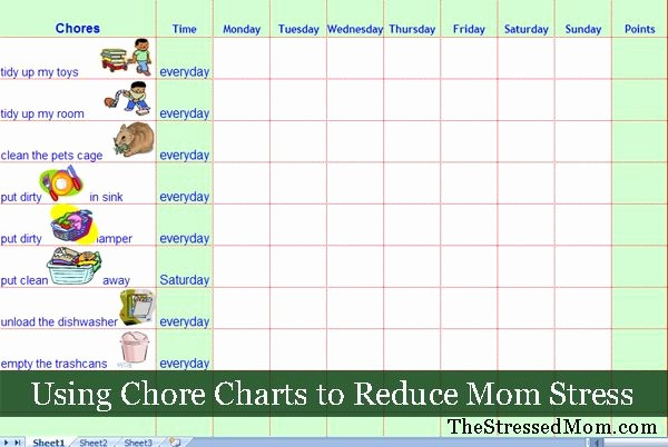Weekly Chore Chart Template Excel Best Of Free Excel Chore Chart Template thestressedmom