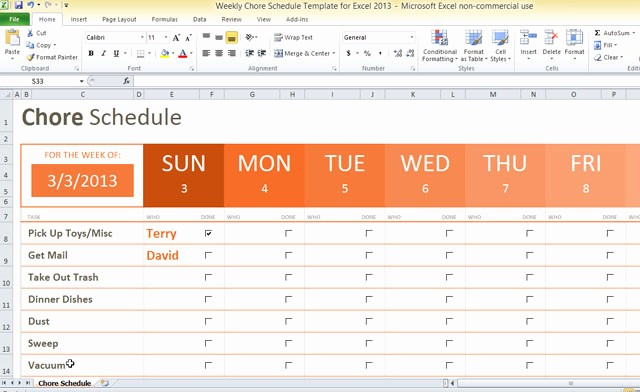 Weekly Chore Chart Template Excel Best Of Weekly Chore Schedule Template for Excel 2013