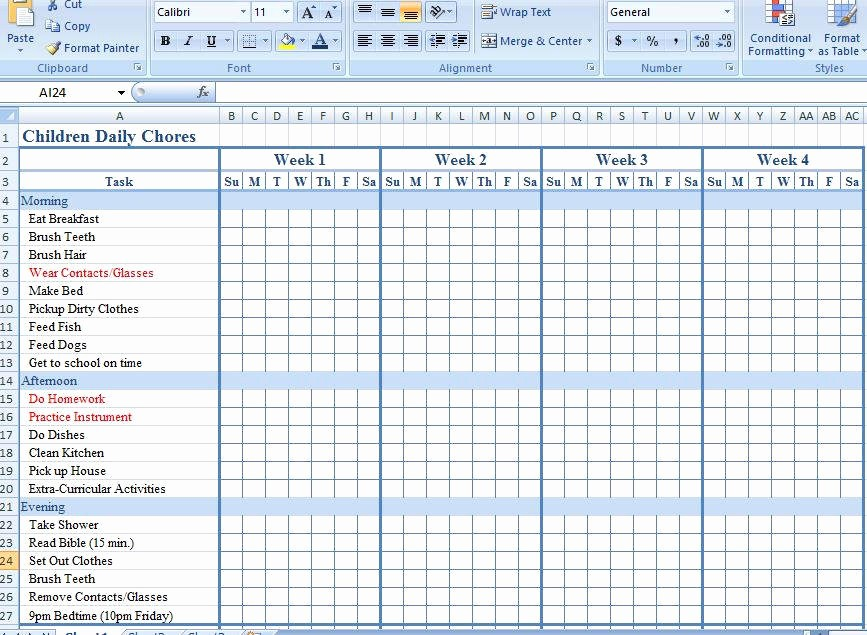 Weekly Chore Chart Template Excel Elegant Bud Tracking Sheet