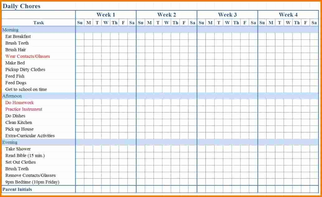 Weekly Chore Chart Template Excel Fresh Excel Chore Chart