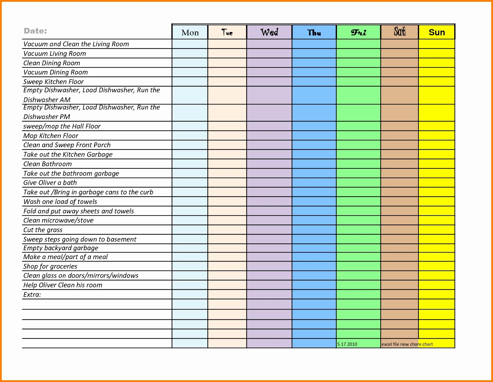 Weekly Chore Chart Template Excel Inspirational Chore Chart Template Excel