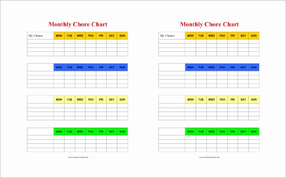 Weekly Chore Chart Template Excel Lovely Chore Chart Template 6 Free Pdf Word Documents Download