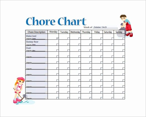 Weekly Chore Chart Template Excel Lovely Weekly Chore Chart Template