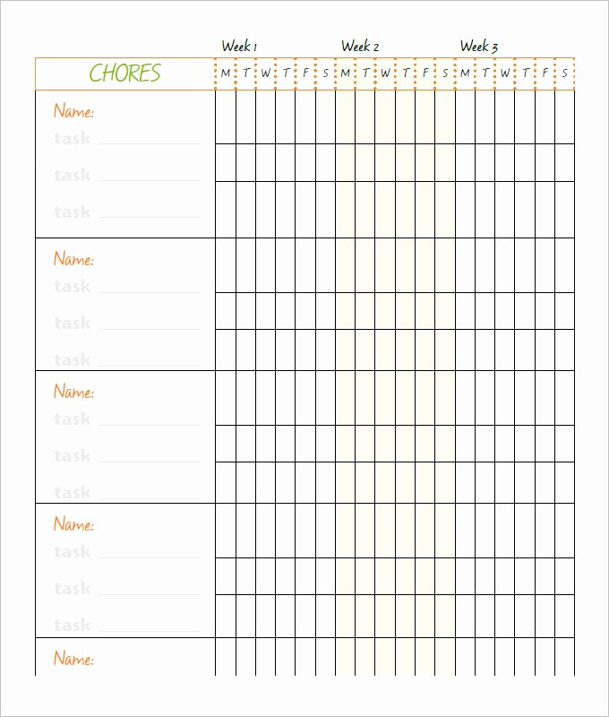 Weekly Chore Chart Template Excel Luxury 10 Family Chore Chart Templates Pdf Doc Excel