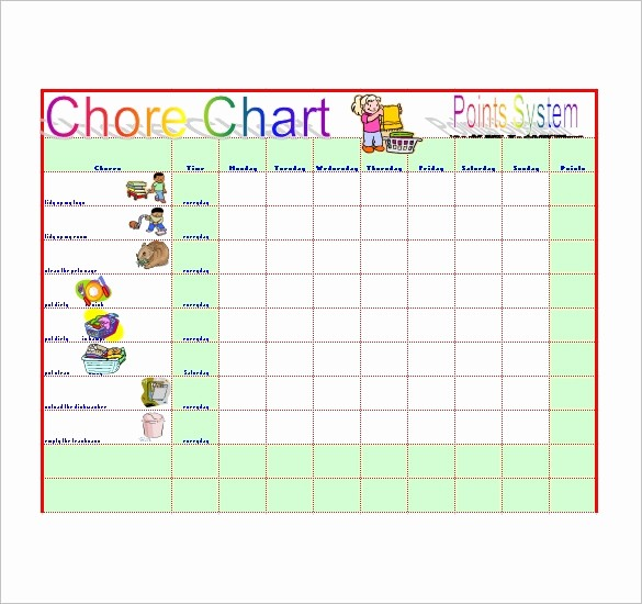 Weekly Chore Chart Template Excel Luxury Chore List Template 10 Free Word Excel Pdf format