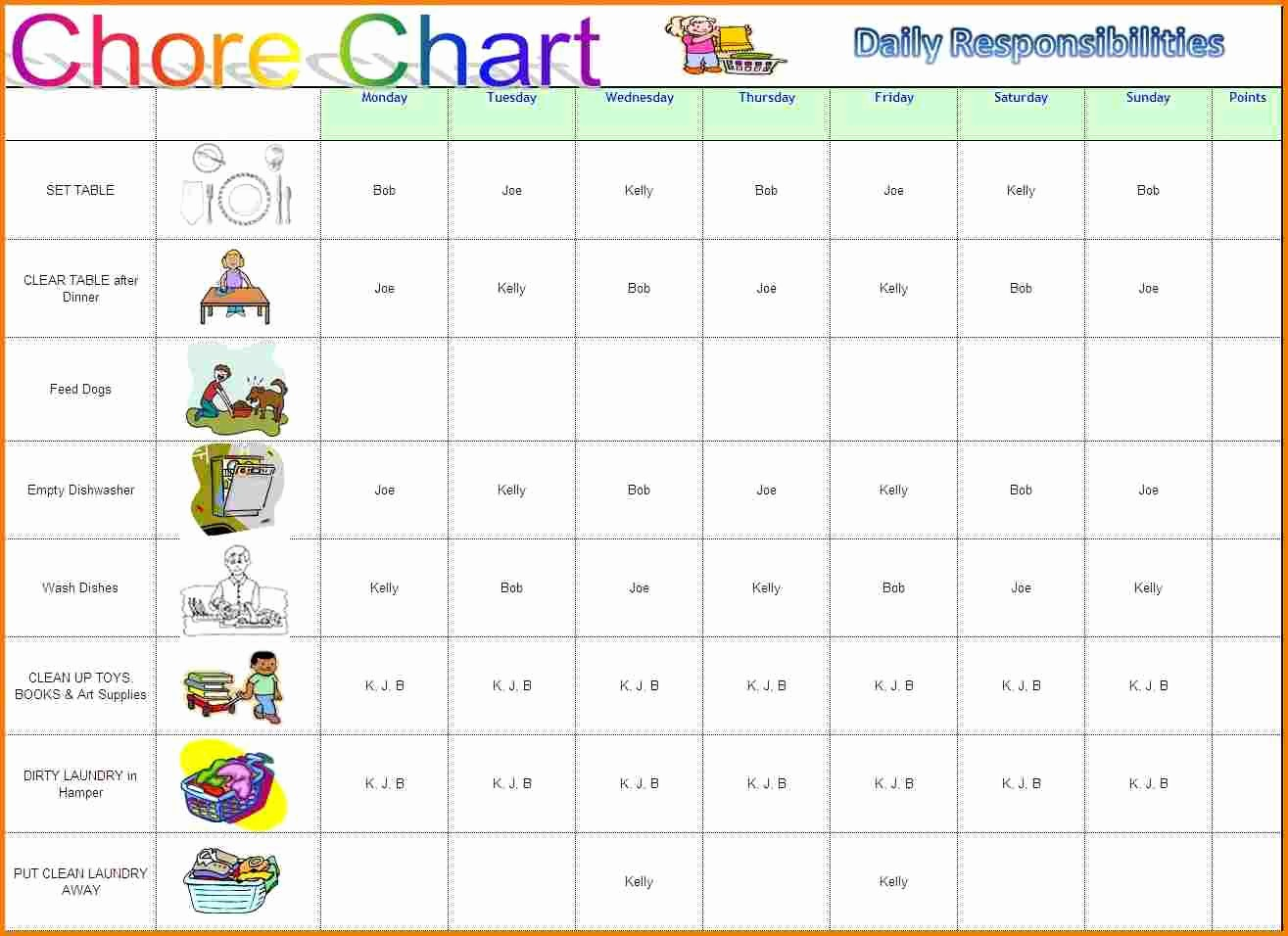 Weekly Chore Chart Template Excel Luxury Chore Template