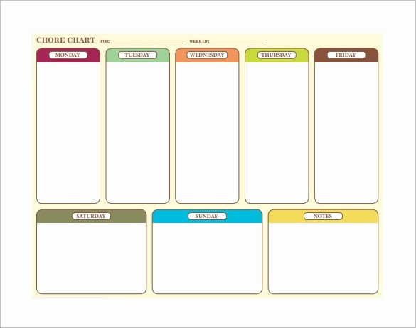 Weekly Chore Chart Template Excel New 30 Weekly Chore Chart Templates Doc Excel