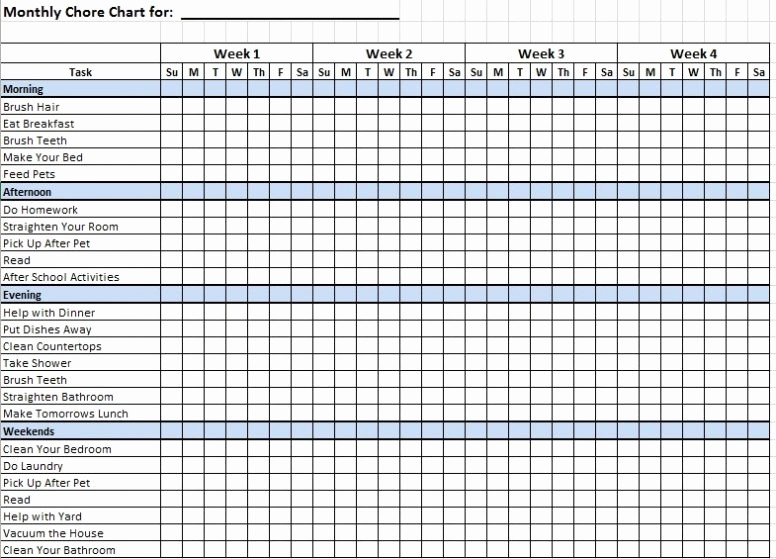 Weekly Chore Chart Template Excel Unique Free Printable Daily Weekly Monthly Chore Chart Template